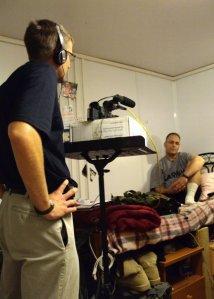 Interviewing soldier in Iraq